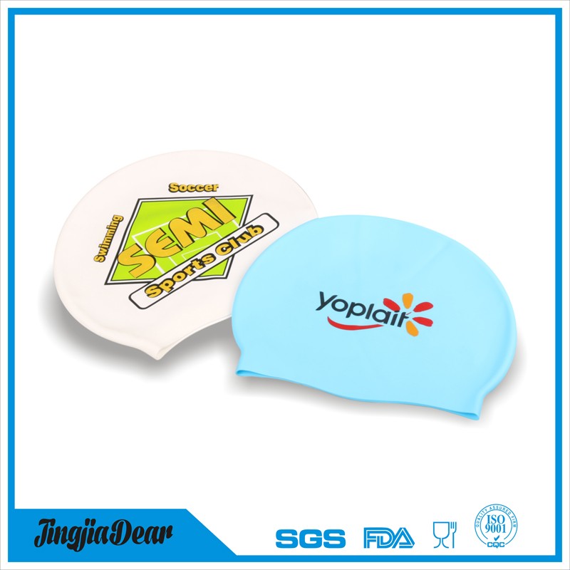 eco-friendly fashion silicone adult swim caps with custom printing logo