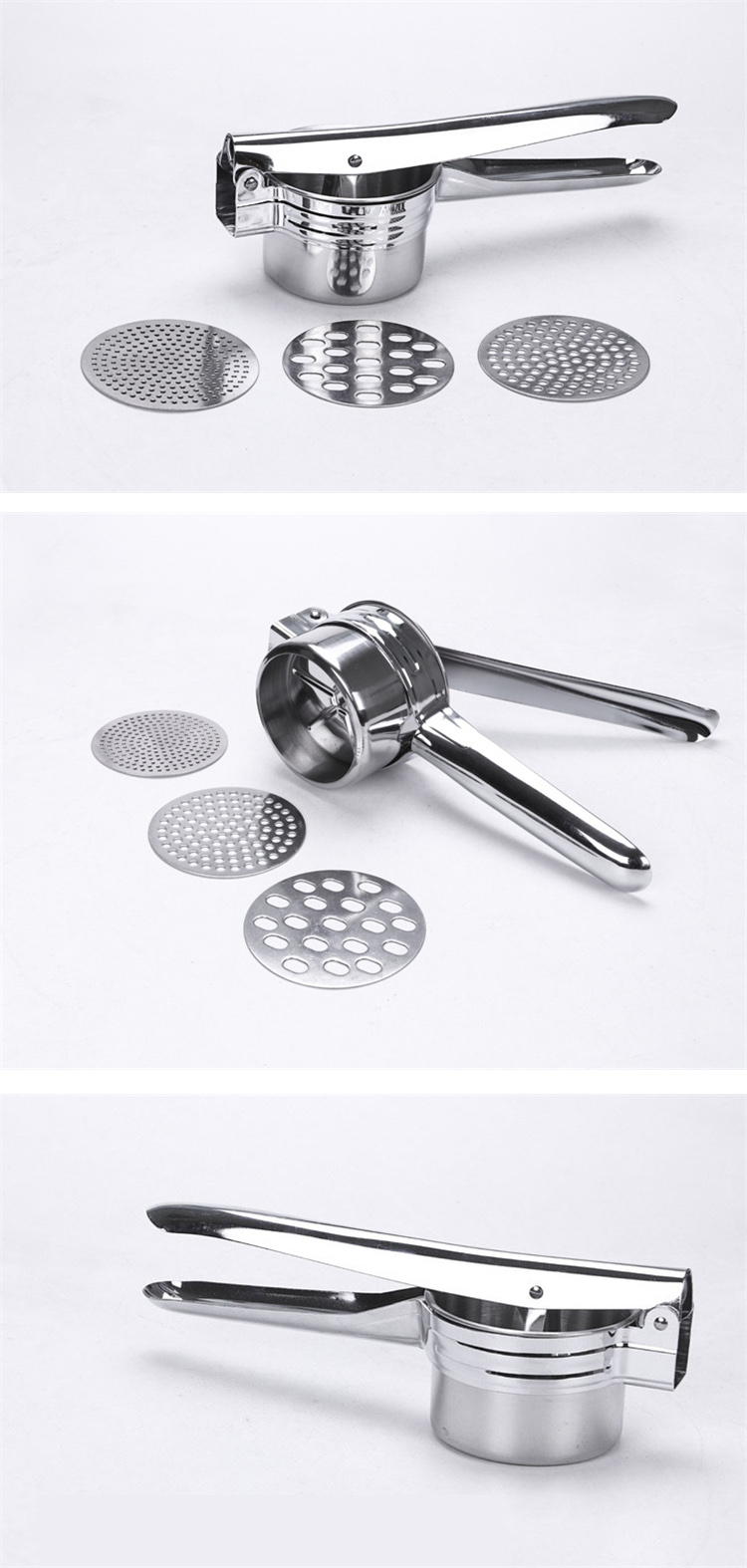 mini potato masher stainless steel with 2 replacement parts