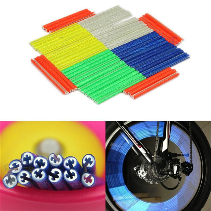 YOUME 12Pcs Bicycle Mountain Bike Riding Wheel Rim Spoke Mount Clip Tube Warning Light Strip Reflector Reflective Outdoor