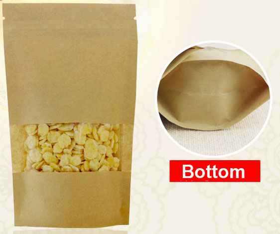 custom printing snacks packing bags cheap brown kraft paper bag recycled
