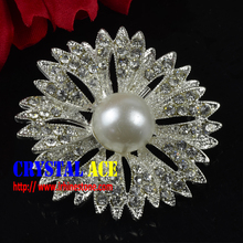 Top Quality Rhinestone crystal pearl Brooch For Wedding Bouquet