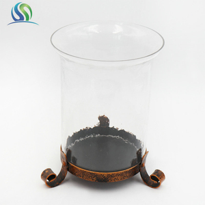 2018 Metal Base Plate and Clear Glass Candle Holder For Decoration And Night Use