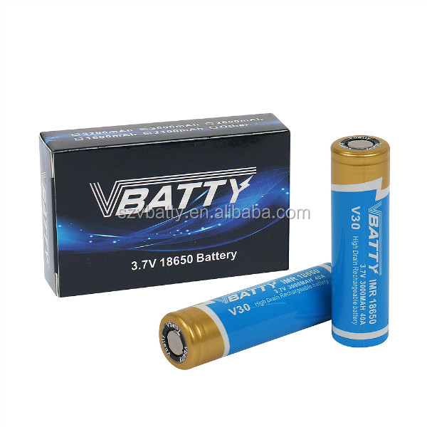 Vbatty V30 IMR 18650 3000mah 40A 3.7V battery with flat top(1 pc)