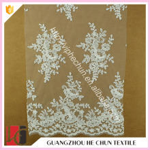 HC-4878-1 Hechun Exquisite White Mesh Made Stretch Chantilly Bridal Lace Fabric