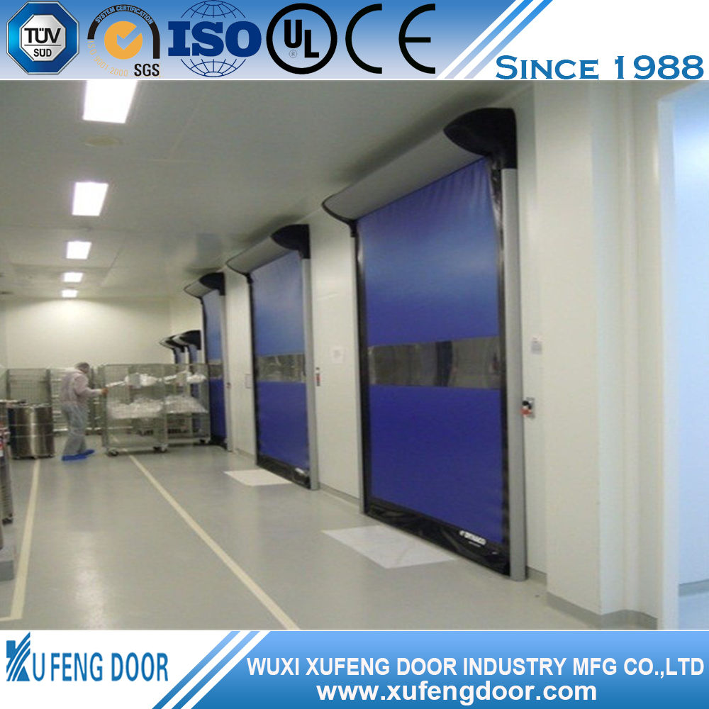 Big warehouse Air shower fabric high speed roller shutter door/pvc roll up doors/automatic fast door