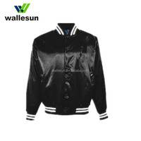 Custom wholesale 100% polyester satin varsity bomber baseball jacket woodland winter men jacket