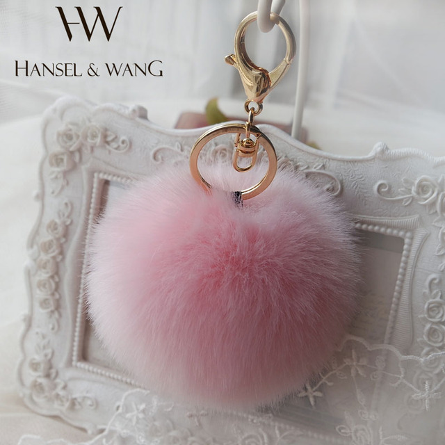 Hansel & Wang 10CM Cute Pompom Keychain Fur Pom Pom Keychain Car Bag Charm Fur Ball Key Chain Women Key Holder Keychains QC22