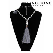 Foreign Trade New Pearl Necklace Alloy Pendant Necklace Tassel Exaggerate Long Sweater Chain