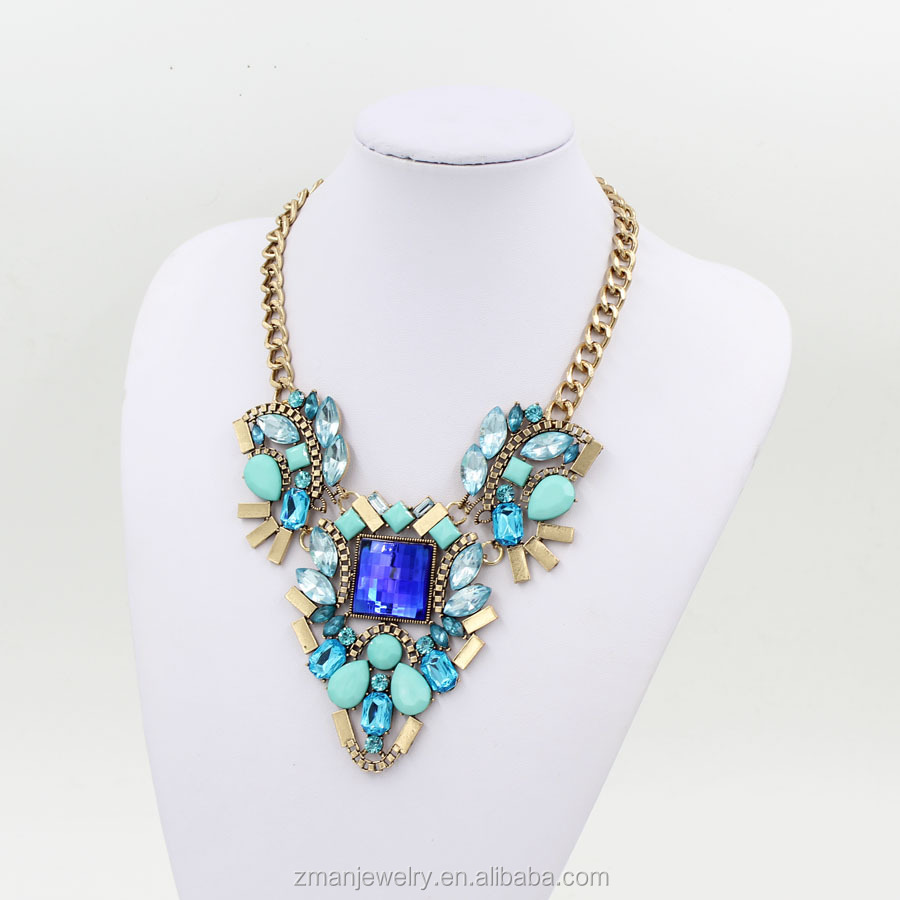 2017 Fashion Statement Jewelry Delicate Bule Crystal Fashion Necklace