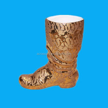 Fashion gold ceramic boot flower planter