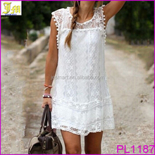 2016 Sexy Women Casual Sleeveless Beach Short Dress Solid White Evening Party Cocktail Mini Lace Dress