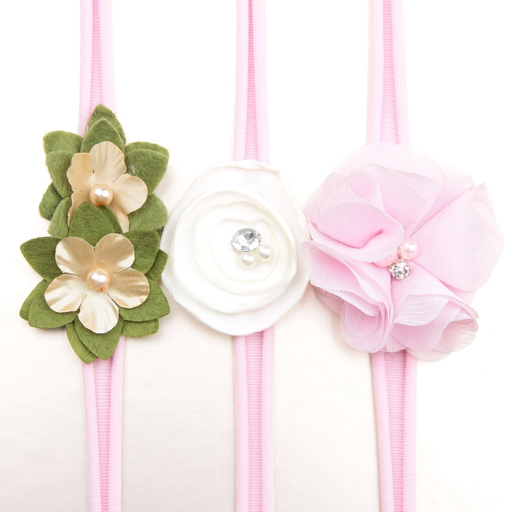 European style baby hair accessory beaded elastic headbands flowers wedding birthday party head decorations hairbands