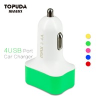 Free sample 4 USB car charger multiple mobile phone car charger best electric car charger