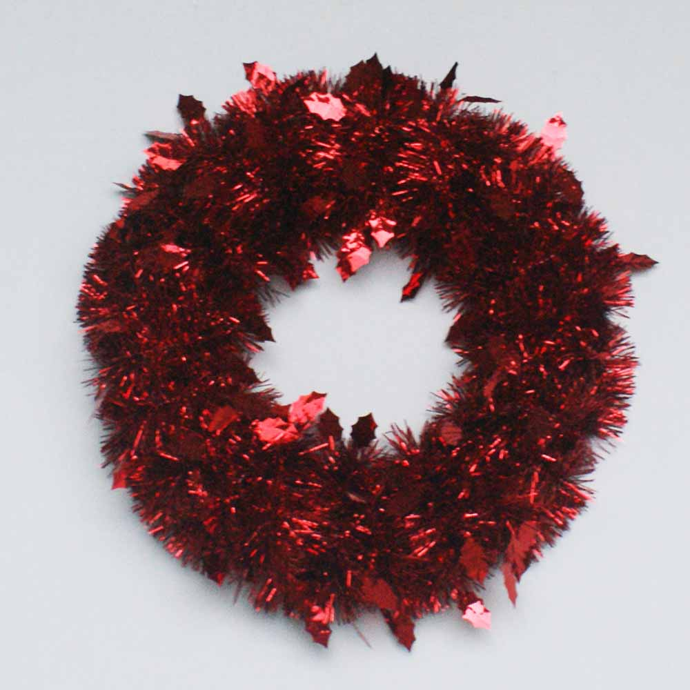 Chirstmas decoration 50cm christmas wreath holly tinsel wreath