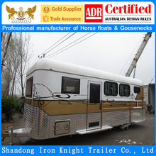 China imported 2 horse angle load horse float horse trailer with living area