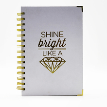 Custom print offset paper spiral notebook with hot stamped foil