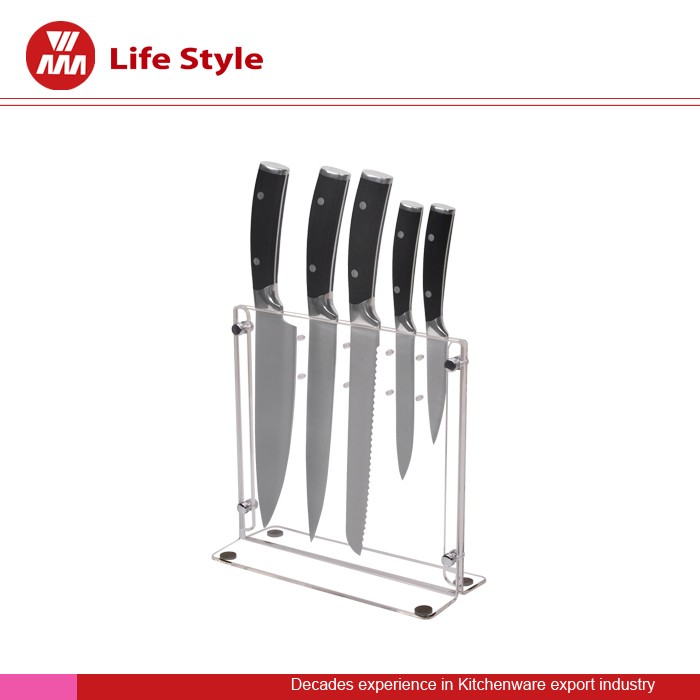 Top quality steel block stainless steel 5pcs Acrylic knife set