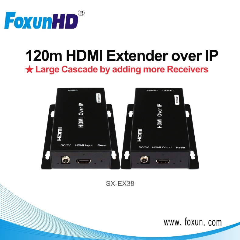 SX-EX38 HDMI IR Extender over IP support 1080P including 1xtramsmitter and 1x receiver