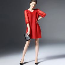 Mature women fold 3/4 sleeve pure color formal dresses