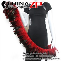 CHINAZP Factory Wholesale Dyed Red Chicken Half Bronze Rooster Schlappen Feathers Strung