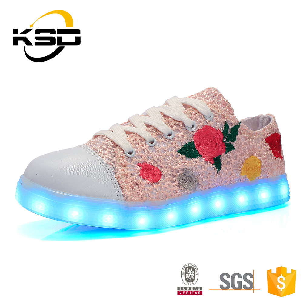 Lightup Girls Flashing Women'S Light Up Adult Size Rose Light Shoes For Sale