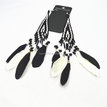 Handmade Feather style Native Art seed Beaded Earrings