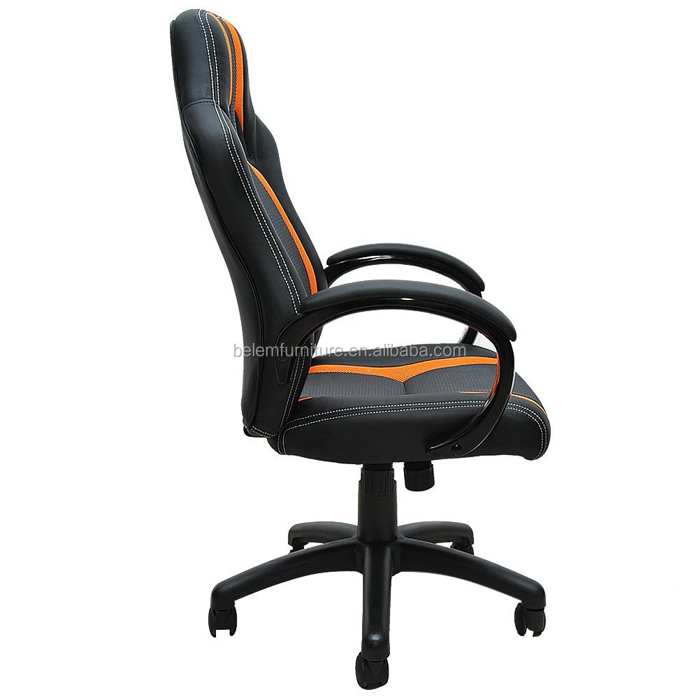 High Gloss Armrest and Base Mesh and PU Home Office Swivel Chair Computer Desk Chair for Video Game -Miskolc-BL3319