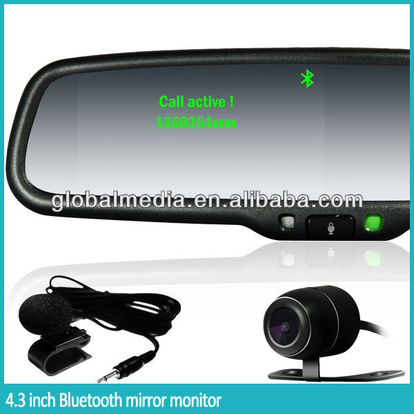 4.3 inch car rearview mirror with bluetooth handfree and night vision camera with CCD device
