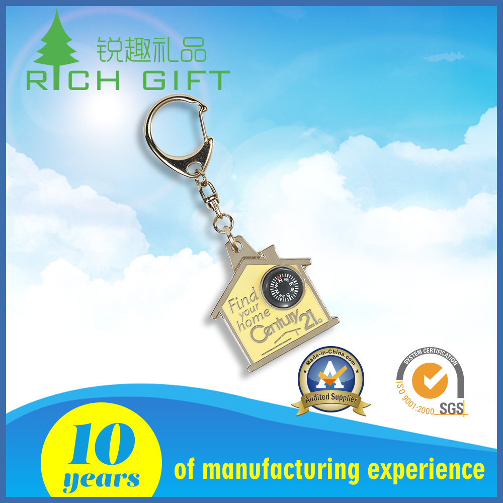 Factory supply custom metal promotional 3D embossed logo coin holder hotel house shaped keychains
