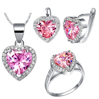 wholesale fashion heart shape pink crystal pendant clip Necklace set jewelry