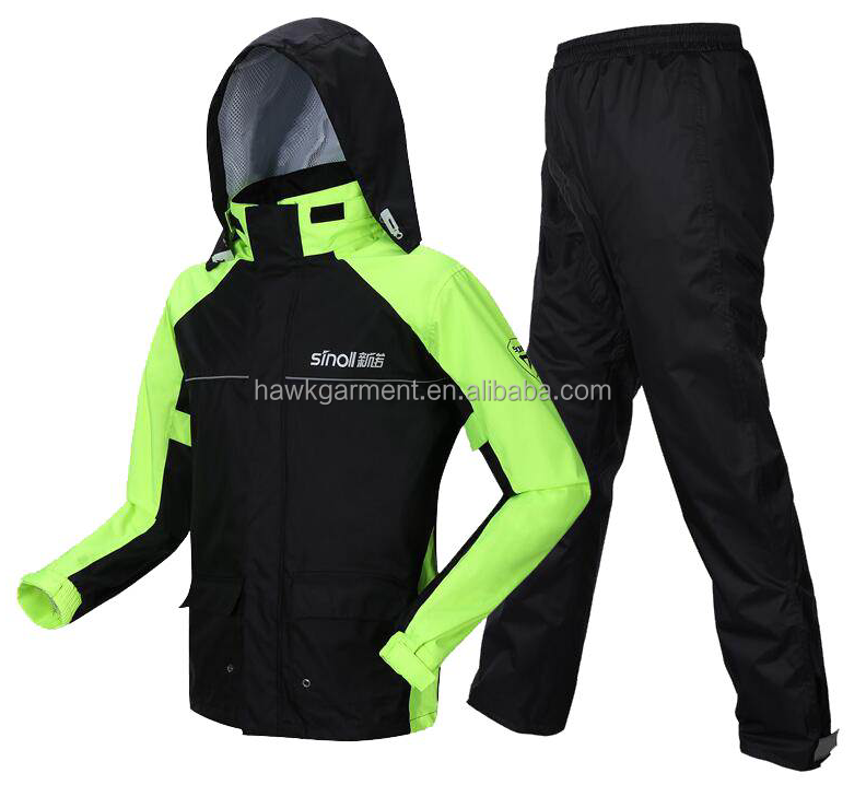 2018 Reflective Polyester Waterproof Motorcycle Men's Rain Coat Suits(RWS013)