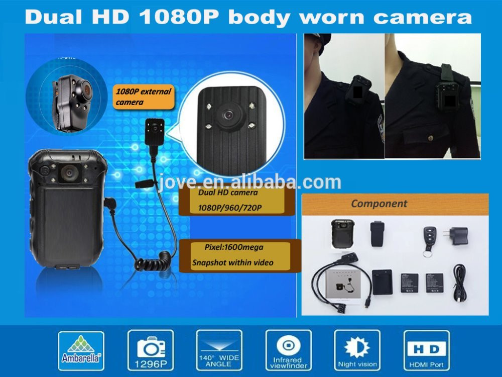 Dual camera security wireless police gps wearable CCTV police video body worn camera