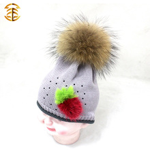 Wholesal Beanies Cotton Knitting Baby Knit Hat with Fur Strawberry