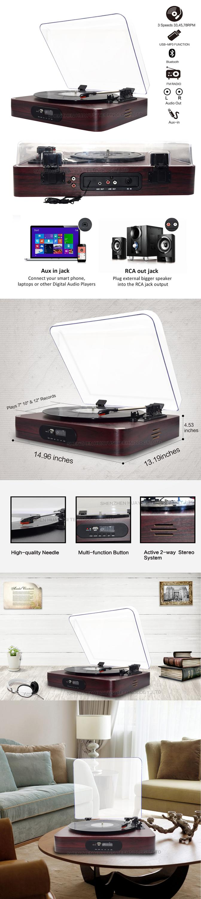 Wood USB Bluetooth Vinyl Record Turntable Player With Recording