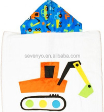Excavator Hooded Towel, Kids Baby Bathrobe Cotton Cute Face Hooded Baby Towel Bath Robe for Boys Girls 0-6 Years Old