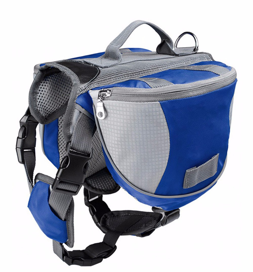 Wholesale outdoor training Adjustable Dog Saddle-harness Bag Large Capacity Dog carrier bag with Reflective Stripe