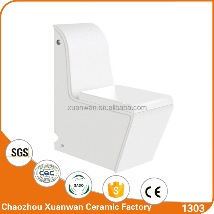 Siphonic side push square one piece toilet