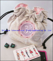 Drawstring grey crushed panne velvet symbol embroidered dice bag pouch