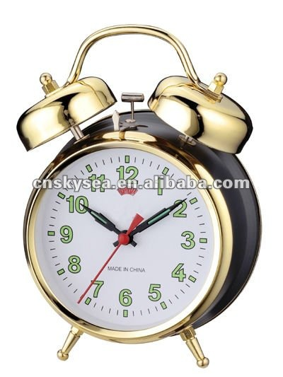 4.5 inch size metal case mechanical double bell alarm clock