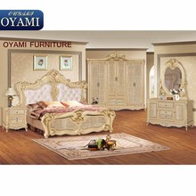 Antique wooden High quality furniture bedroom sets round bed