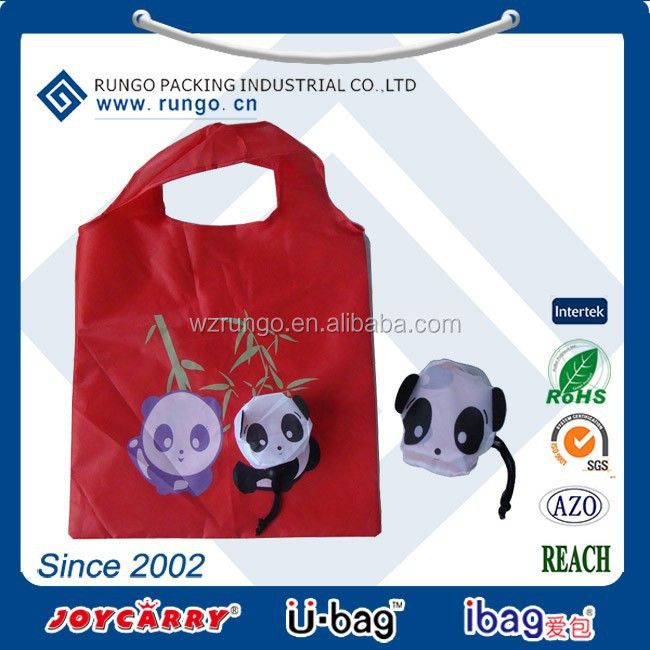 Promotional Eco Reusable recycled Animal Bag Nylon Polyester Folding Shopping Bags