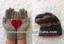 Wool hand knitted beanie/hat and gloves with sweet heart patch