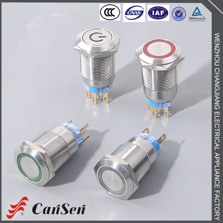Stainless steel/copper plating (LED)Ring illuminated 19m momentary push button switch