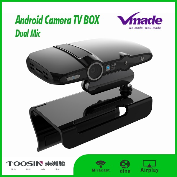 New arrival quad core allwinner android h3 tv camera smart box tv skype