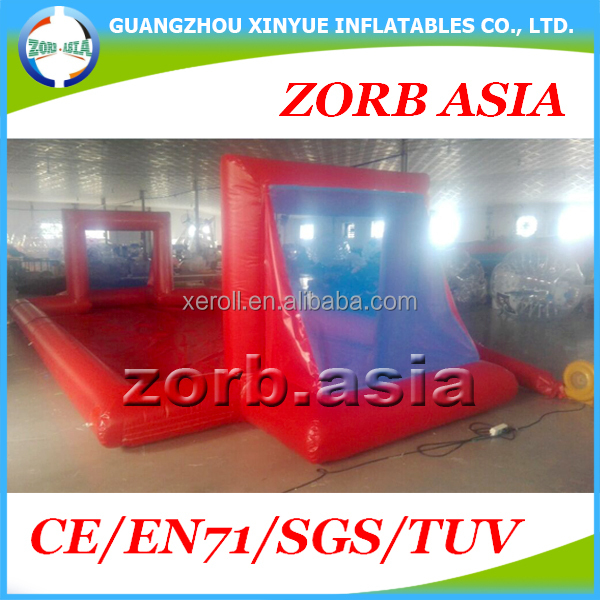 Outdoor Giant Inflatable Football Court, Inflatable Soccer Field, Soap and Water Football Pitch For Bubble ball Games
