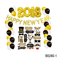 2018 Balloon Photo Booth Props New Year Banner Happy New Year Decoration