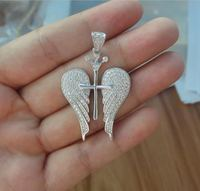 micro pave hip hop jewelry sterling silver angel wing charms wholesale