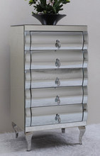 Clear Curved glass mirror furniture with 5 drawers and steel feet