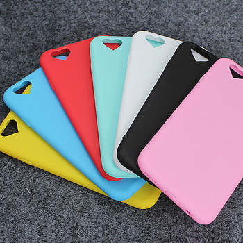 Wholesale cheap price candy color heart shape slim soft TPU mobile phone case For iPhone 6s 7 8 Plus X