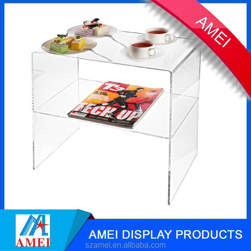 2017 custom novelty elegant fancy acrylic end table with shelf